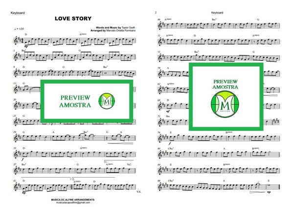 Love Story - Taylor Swift - Keyboard or Violin Sheet Music