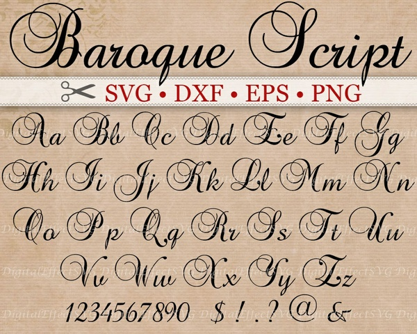 BAROQUE SCRIPT SVG Files, Monogram SVG Font