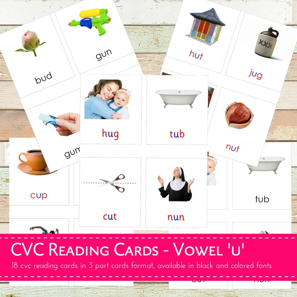Montessori CVC Reading Cards - Vowel U