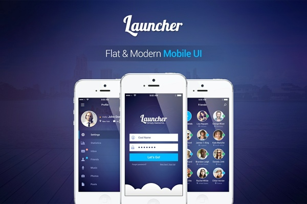 Flat Mobile UI Kit - Launcher