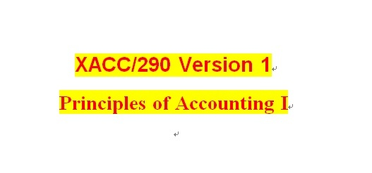 XACC 290 Week 1 Checkpoint - Financial Statements