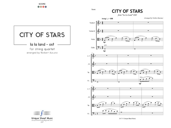 La La Land OST - City Of Stars - Arranged for String Quartet