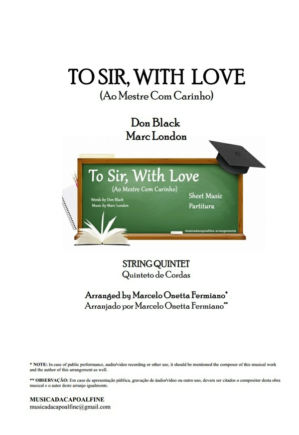 TO SIR, WITH LOVE - Ao Mestre com Carinho - String Quintet - Sheet Music Download