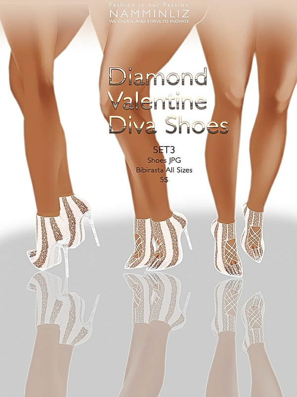 Diamond Valentine Diva Shoes SET 3 JPG bibirasta texture imvu