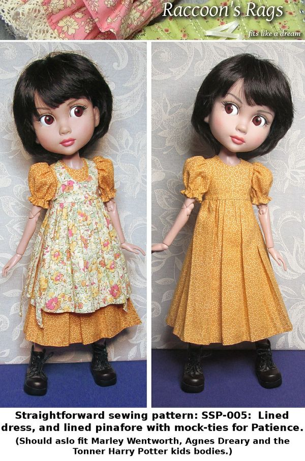 SSP-005: Straightforward Sewing Pattern; Puff-sleeve dress and pinafore for Patience.
