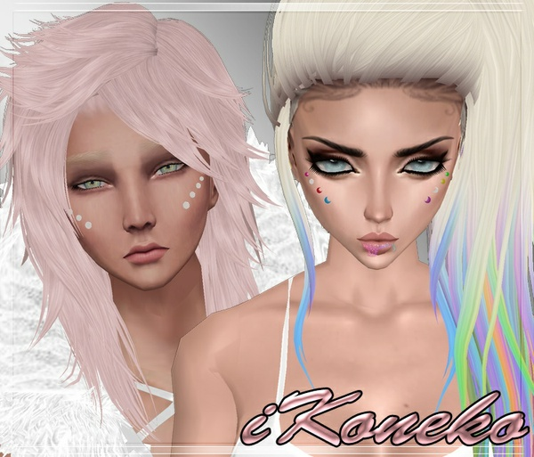 Cheeks Piercings Set Male And Female Mesh
