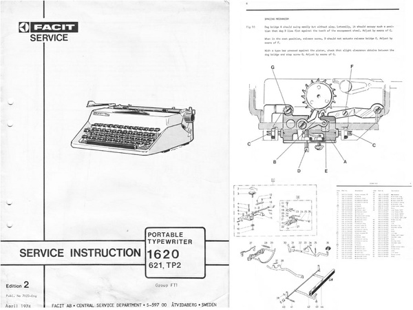 Facit 1620, 621 & TP2 Portable Typewriter Repair Adjustment Service Manual