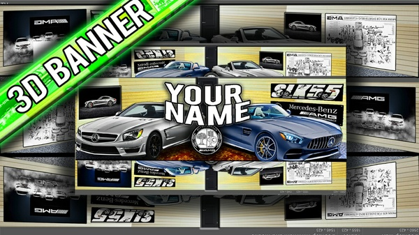 (3D CAR) Mercedes-Benz AMG Youtube Banner Template - PSD