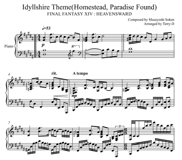 FINAL FANTASY XIV - Idyllshire Theme (original B major key) Arr.by Terry:D