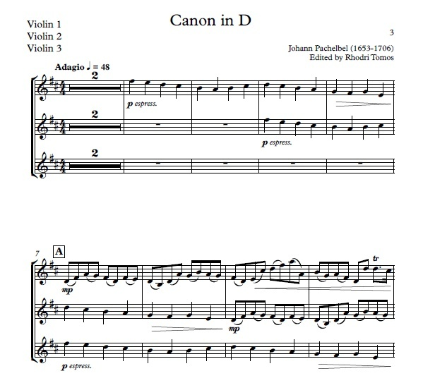 Pachelbel Canon in D - play along accompaniment mp3 and pdf sheet music violin & trumpets
