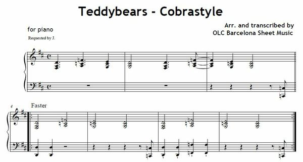 Teddybears (Cobrastyle) - piano sheet music