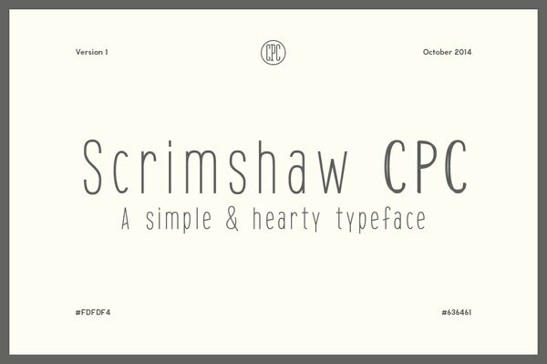 Scrimshaw CPC - A simple & hearty typeface