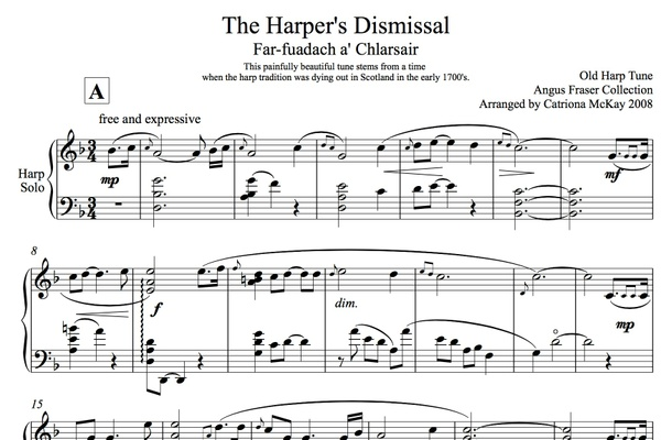 The Harper's Dismissal, Advanced Harp Solo, Arranged by Catriona McKay