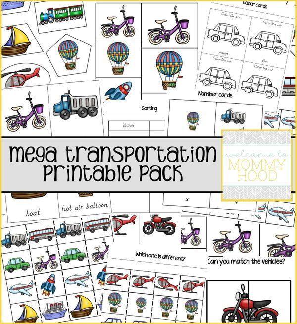 Montessori inspired mega transportation printable pack (RUSSIAN)