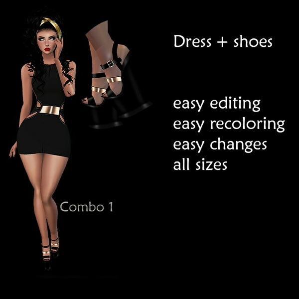 glam dress and shoes - png