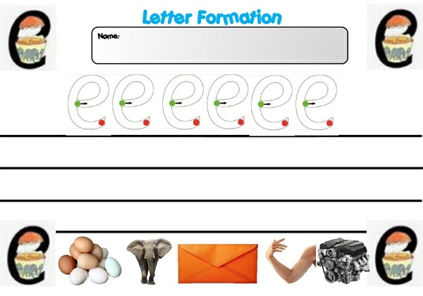 LETTER FORMATION A AND E