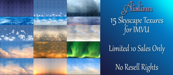 15 Sky Textures for IMVU ON SALE!
