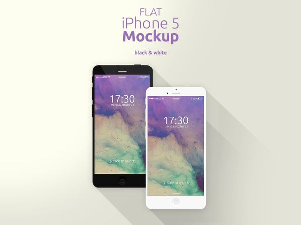 Flat iPhone 5 Mockup [Black & White]