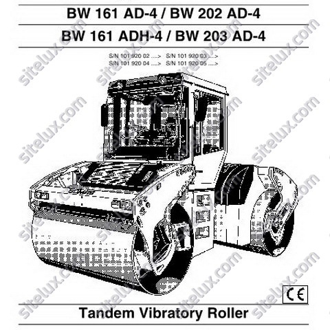 Bomag BW 161,BW 202, BW 203 AD-4/ADH-4 Tandem Vibratory Roller Operation & Maintenance Instructions