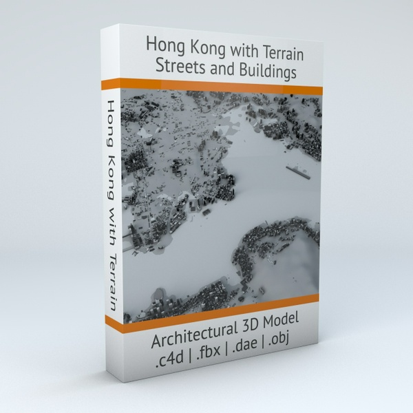 Hong Kong Districts Streets and Buildings with Terrain Architectural 3D Model