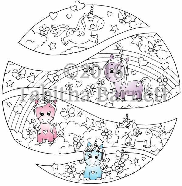 Unicorns Broken Circle Coloring Page JPG