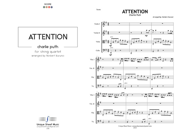 Attention - Charlie Puth | String Quartet Sheet Music