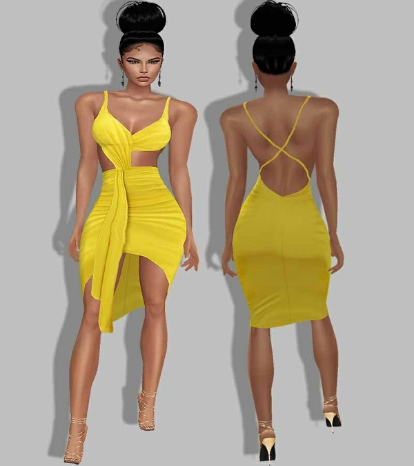 texture YELLOW dress
