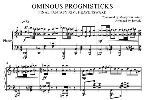 """Ominous Prognisticks(Arr.by Terry:D)"" for Piano solo from Final Fantasy XIV"
