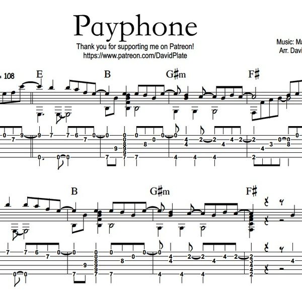 PAYPHONE (Maroon 5) - Fingerstlye Guitar Arrangement - TABs + Notation