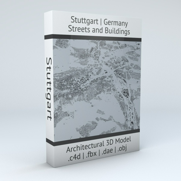 Stuttgart Streets and Buildings Architectural 3D Model