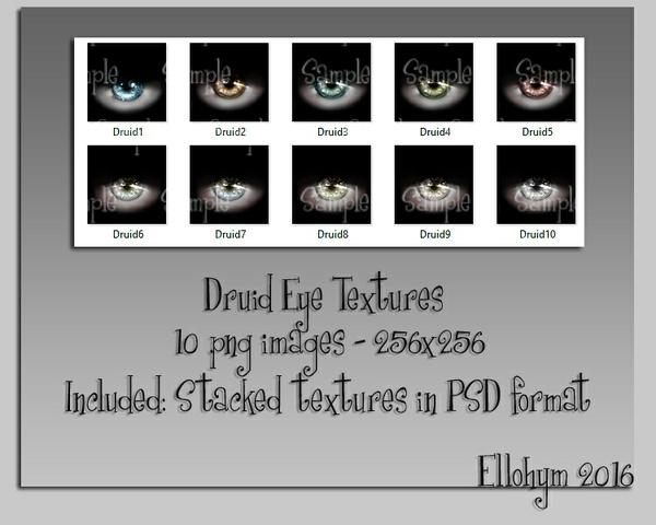 Ellohym - Druid Eye Textures - 10 High Quality .png