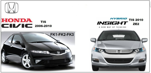 HONDA FK1-2-3 TIS 2006-2010 & INSIGHT TIS 2010 WORKSHOP MANUALS.