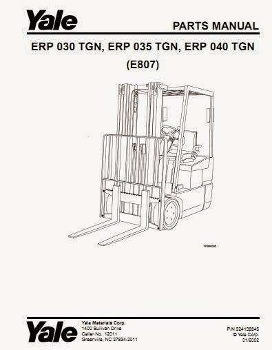 Yale ERP 030 TGN, ERP 035 TGN, ERP 040 TGN (E807) Lift Truck E807 Parts Manual