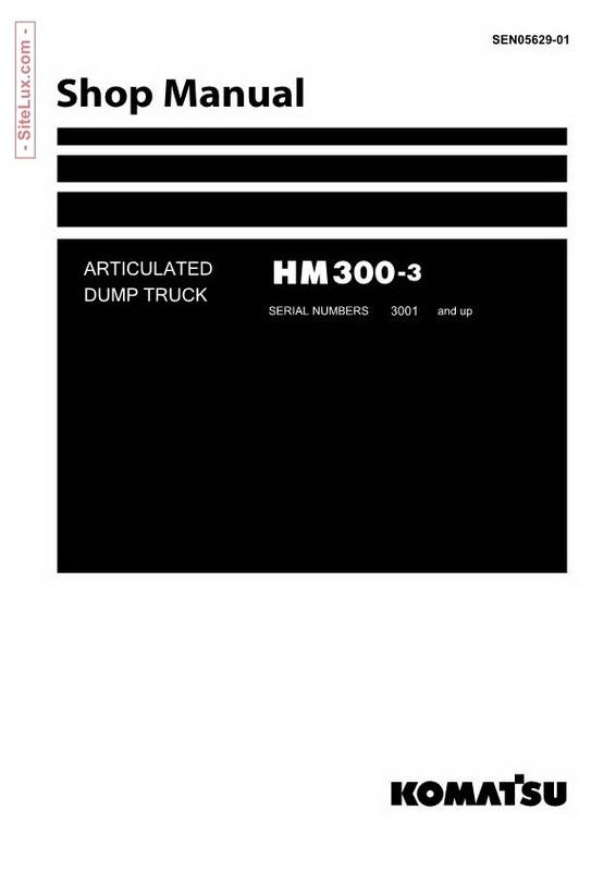 Komatsu HM300-3 Articulated Dump Truck Shop Manual - SEN05629-01