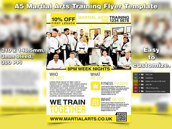 Martial Arts Training Flyer Template (A5, PSD)