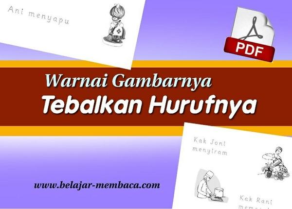 Warnai Gambarnya, Tebalkan Hurufnya - Worksheet Berbahasa Indonesia