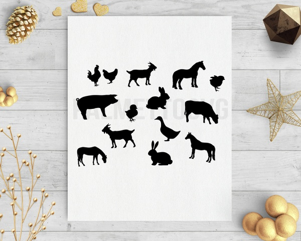 farm animals clip art svg dxf cut file silhouette cameo cricut download