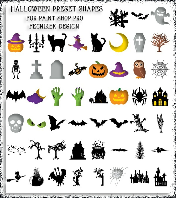 Halloween preset shapes for Paint Shop Pro