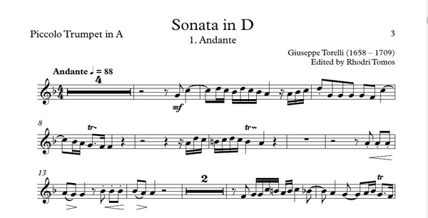Torelli G1 Sonata for Trumpet in D major - sheet music pdf & accompaniment mp3
