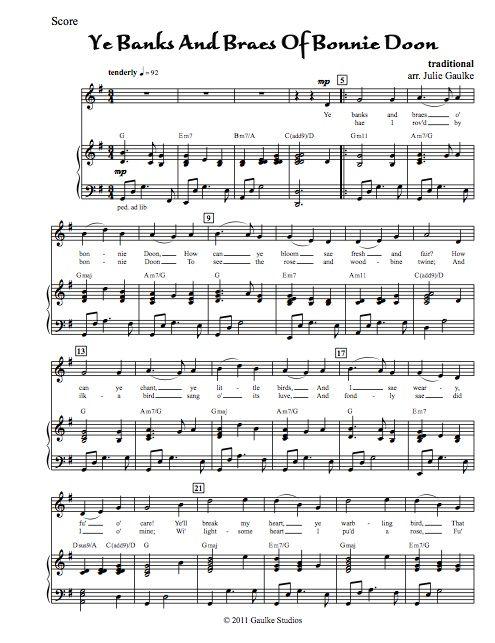 Ye Banks And Braes Of Bonny Doon (vocal version) original arrangement
