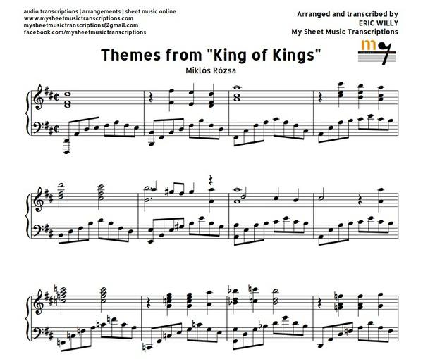Themes from King of Kings (Miklós Rózsa) Sheet music (.pdf)