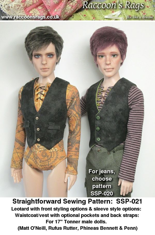 "SSP-021:  Leotard in different styles, and waistcoat for 17"" Tonner guys, such as Matt, Rufus, Penn."