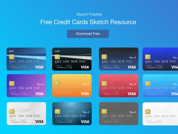 Sketch - Free Credit Cards Vector UI Template