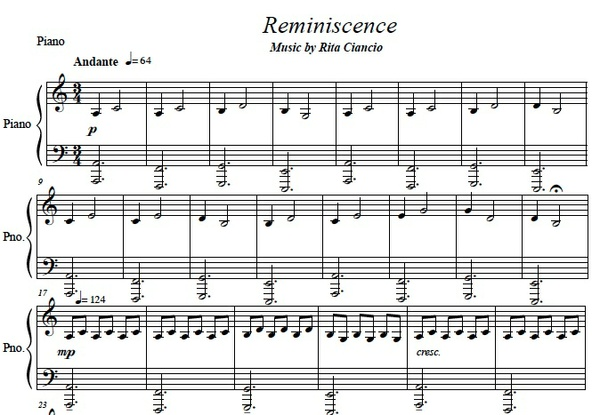 """Reminiscence"" - Rita Ciancio (Piano Sheet Music)"