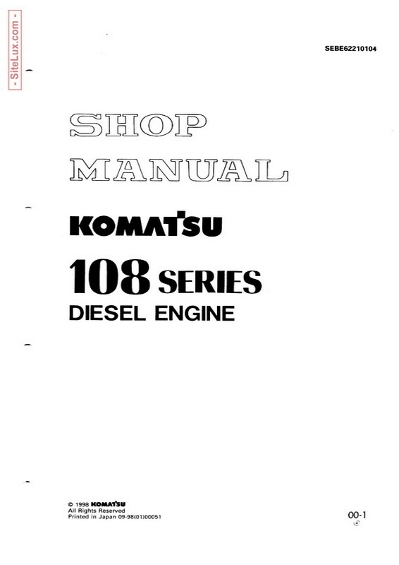 Komatsu 108 Series Diesel Engine Shop Manual - SEBE62210104