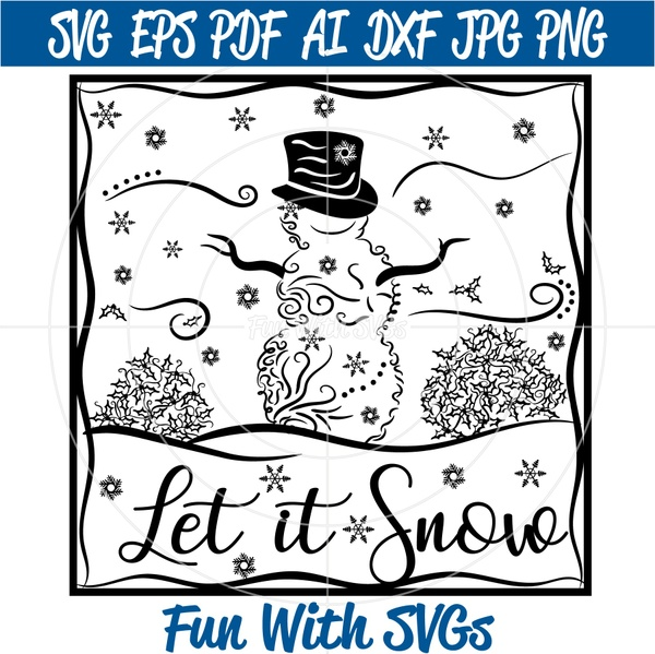 Glass Block Design, Filigree Snowman, Zentangle, Winter, SVG Files