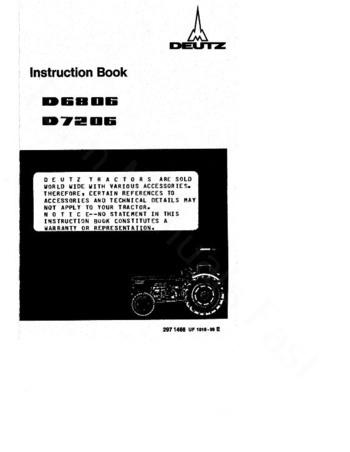 Deutz Fahr D6806 and D7206 Tractor Operator Manual Pdf