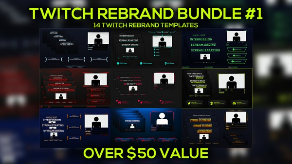 Twitch Stream Rebrand Template Bundle Pack 1