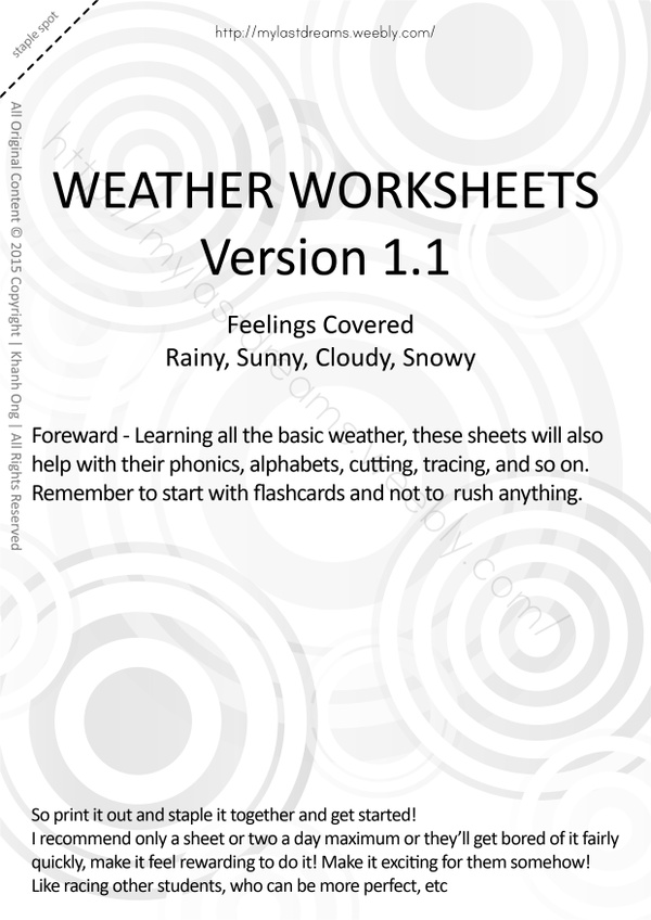 MLD - Basic Weather Worksheets - Part 1 - A4 Sized