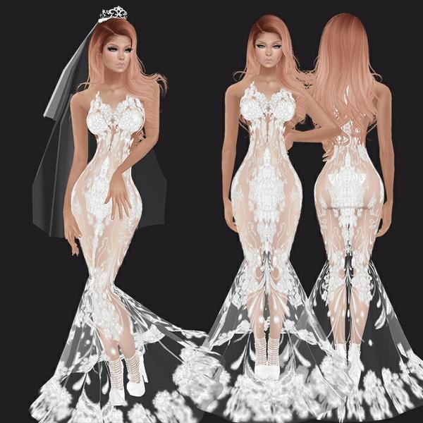 Wedding Dress, Shoes, Veil, Crown